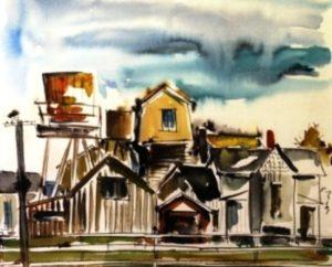 Leona's Watertower, Mendocino (1958). Watercolor by Bill Zacha. WZ195803