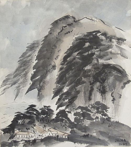 Asian Landscape (1964). Ink wash drawing by William Zacha. WZ196410