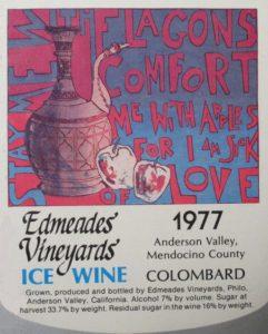 Edmeades' Vineyards Ice Wine label (1977). Artwork by Bill Zacha (1967).