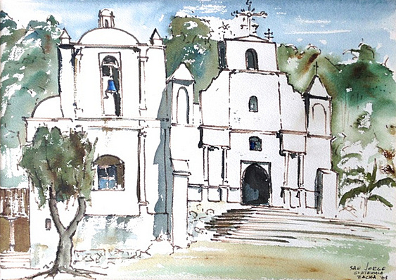 San Jorge, Guatemala (1968). Watercolor by William Zacha. WZ196810