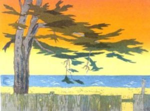 Cypress Sunset, Mendocino (1970). Serigraph by Bill Zacha. WZ197003