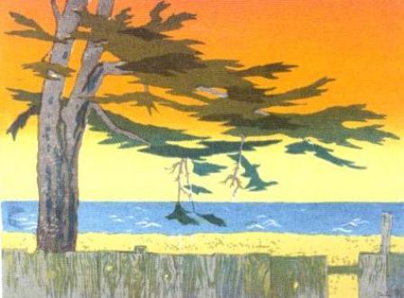 Cypress Sunset, Mendocino (1970). Serigraph by Bill Zacha. WZ197003
