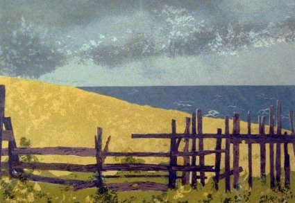Picket-Fence and Coming Storm (1970). Serigraph by Bill Zacha. WZ197004