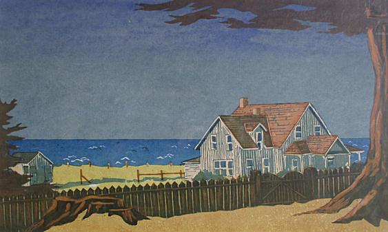 Ford House, Dawn (1970). Serigraph by Bill Zacha. WZ197010
