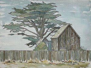 August Evening, Mendocino (1972). Watercolor by Bill Zacha. WZ197201