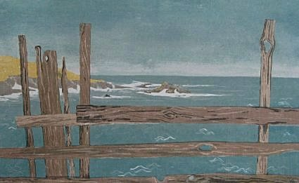 Mendocino Winter (1975). View of Mendocino Bay through a weathered redwood fence. Serigraph by Bill Zacha. WZ197502