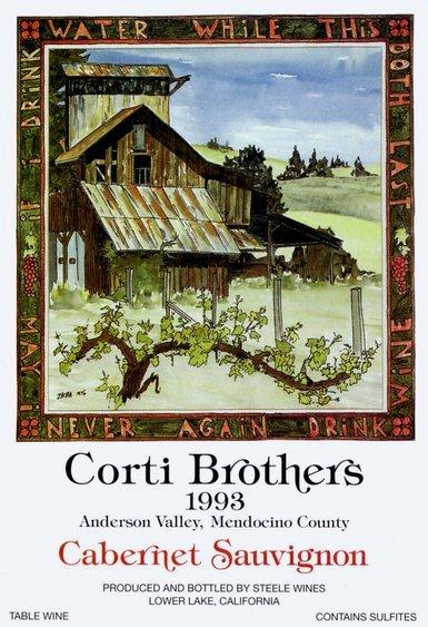 Corti Brothers Cabernet Sauvignon label (1993). Original artwork by Bill Zacha.