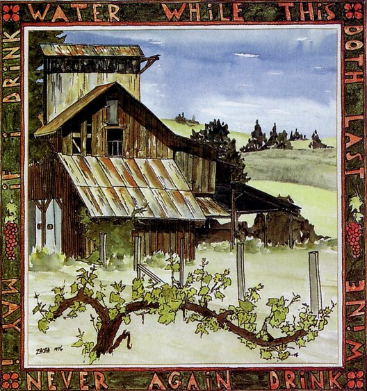 Corti Brothers Vineyard (1976). Watercolor by Bill Zacha, commissioned by Darrell Corti as original wine label art for a special vintage of Cabernet Sauvignon. WZ197620