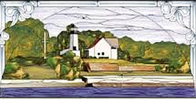 Stained glass window designed by Bll Zacha, at Lighthouse Cove, an inn in Caspar South, near the Point Cabrillo Lighthouse. WZ197630