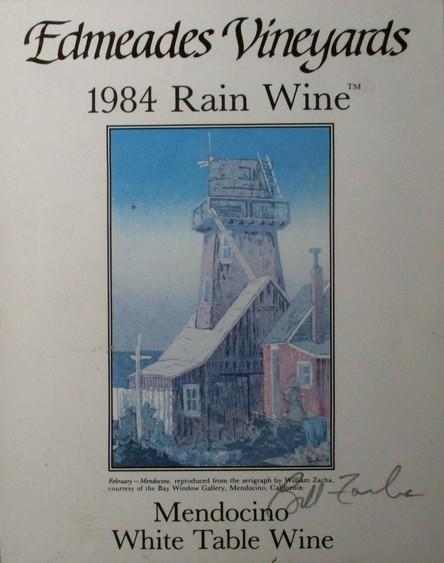 Edmeades Vineyards Rain Wine label (1985), vintage 1984.