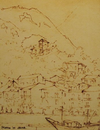 Scario, below Monte Bulgheria (1979). Drawing by Bill Zacha. WZ197920