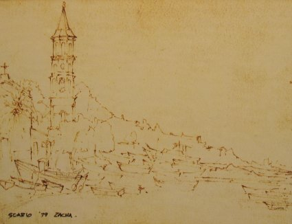 Scario, Campanile, Chiesa dell' Immacolada (1979). Drawing by Bill Zacha. WZ197921