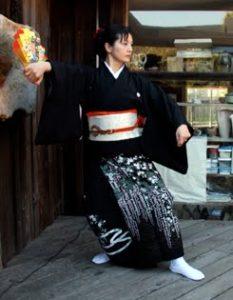 Hiromi Kitahara performs a male kimono dance at the Mendocino Art Center reception for the 2010 Miasa-Omachi/Mendocino art exhibit opening.