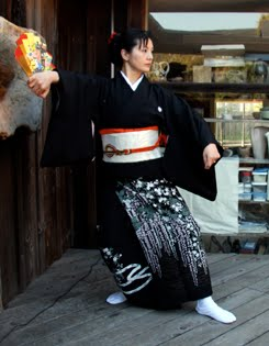 Hiromi Kitahara performs a male kimono dance at the Mendocino Art Center reception for the 2010 Miasa-Omachi/Mendocino art exhibit opening.