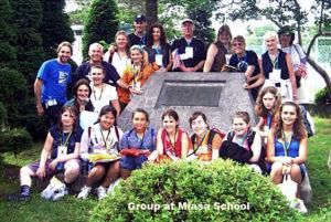 The 2007 Mendocino group at the Miasa-Mendocino Peace Plaque at the Miasa School, Miasa-Omachi, Japan.