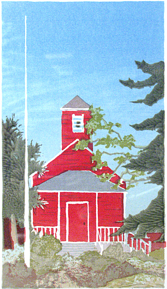 Little Red Schoolhouse (1983). Created and donated to raise raise funds for the Anderson Valley Historical Society Museum. Mendocino County. Serigraph by Bill Zacha. WZ198300