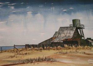 Mendocino (1983). Watercolor by Bill Zacha. WZ198320