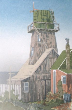 February, Mendocino '85. A later edition based on February Mendocino (1978). Serigraph by Bill Zacha. WZ198501
