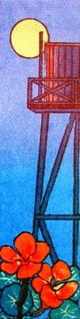 Moonrise (1989). Mendocino watertower and nasturtiums.