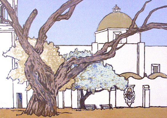 San Antonio Rose (1989). Mission San Jose, San Antonio Texas. Serigraph by William Zacha. WZ198905