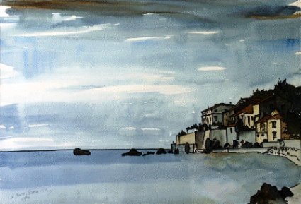 La Punta, Scario, Italy (1990). Watercolor by Bill Zacha. WZ199001