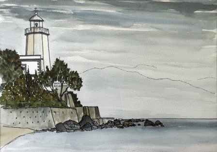 Il Faro, Scario (1990). Watercolor by Bill Zacha. WZ199003