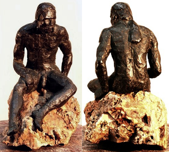 "Ajax is the first of the Zacha bronzetti (1973). Two views. Solid cast bronze figure by Bill Zacha, edition of one. Figure alone: dimensions, 11"" x 12.5"" / weight, 15 lbs. SKU: WZ197360"