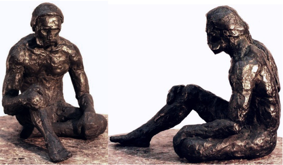 "Mendocino is the second of the Zacha bronzetti (1973). Two views. Solid cast bronze figure by Bill Zacha, edition of one. Dimensions, 9"" x 8"". SKU: WZ197385"
