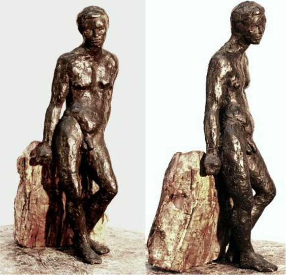 "Ganymede, solid cast bronze figure by Bill Zacha, edition of one, (1973-1974), two views. Figure alone: dimensions, 4"" x 13.5"". SKU: WZ197450"