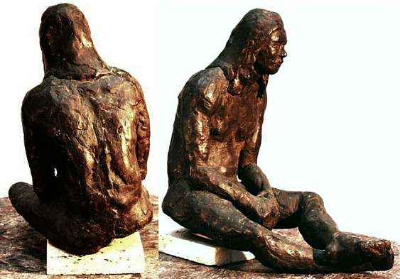 "Elder Brother, solid cast bronze figure by Bill Zacha, edition of one (1973). Two views. Figure alone: dimensions, 10"" x 9.25"" / weight, 22 lbs. SKU: WZ197488"