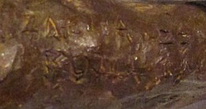 Priam II carries a bold signature inside the back of the left knee: ZACHA '77 ROMA (detail).