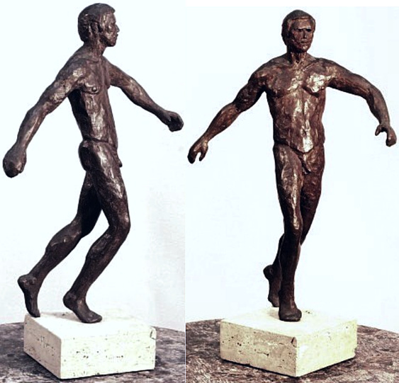 "Patroclus I, hollow cast bronze figure by Bill Zacha (1977), two views. Quantity cast, one. Figure and base together: dimensions, 14"" x 8.75"" / weight 6 lbs. SKU: WZ197757"