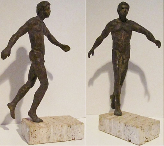 "Patroclus II, hollow cast bronze figure by Bill Zacha (1977), two views. Quantity cast, one. Dimensions including base: 13 ¾"" x 8.75"". SKU: WZ197758"