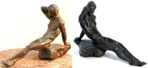 Views of Bill Zacha's Endymion (1980), showing two photographic interpretations of Endymion's patina. Left photo, Zacha family work for hire; right photo by Gartha German. SKU: WZ198069