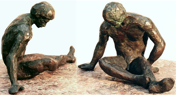 "Apollodorus, hollow cast bronze figure by Bill Zacha (1980), two views. Edition marked 3/5. Quantity cast, no more than three. Dimensions 7.25"" x 12"" / weight 5 lbs. SKU: WZ198070"