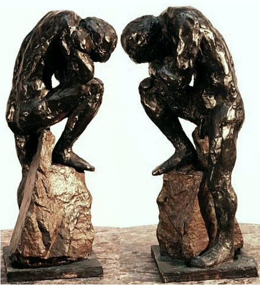 "Orestes, bronze figure by Bill Zacha (1980), hollow cast in one piece. Two views. Quantity cast, no more than three. Dimensions 9.25 x 4.25"" / weight 5 lbs. SKU: WZ198075"