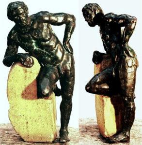 Achilles, hollow cast bronze figure by Bill Zacha (before 1982). Two views. Quantity cast, no more than three. SKU: WZ198159