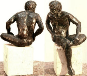 """Diomedes, hollow cast bronze figure by Bill Zacha (1981). Two views. Quantity cast, no more than three. Dimensions, including travertine base, 10.5"""" x 6.75"""" / weight, including base, 9 lbs. SKU: WZ198163"""