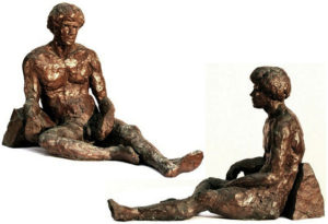 """Palamedes, bronze figure by Bill Zacha, figure and base, hollow cast in one piece (1981). Two views. Quantity cast, no more than three. Dimension 8"""" x 11.6"""" / weight 6.5 lbs. SKU: WZ198165"""