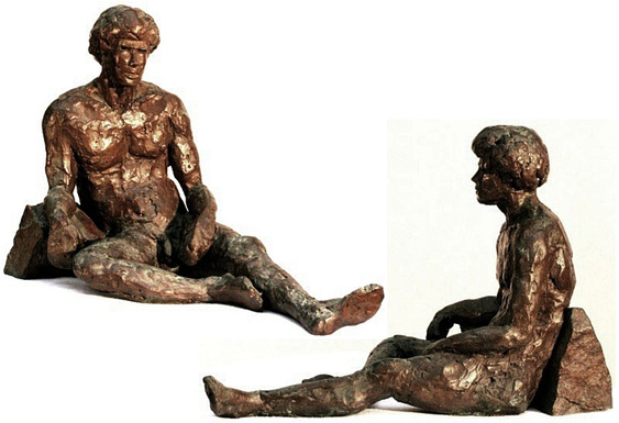 "Palamedes, bronze figure by Bill Zacha, figure and base, hollow cast in one piece (1981). Two views. Quantity cast, no more than three. Dimension 8"" x 11.6"" / weight 6.5 lbs. SKU: WZ198165"