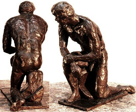 Herakles, bronze figure by Bill Zacha (1981), hollow cast in one piece . Two views. Quantity cast, no more than three. Dimensions 9.25 x 7.25 / weight 7.5 lbs. SKU: WZ198167