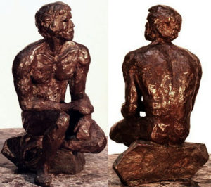 """Orpheus, bronze figure by Bill Zacha, hollow cast in one piece (1981). Two views. Quantity cast, no more than three. Dimensions 9.25"""" x 6.25"""" / weight 7.25 lbs. SKU: WZ198170"""