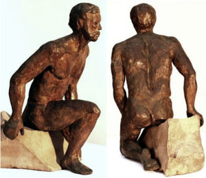 """Menelaus: hollow cast bronze figure by Bill Zacha (1981). Two views. Quantity cast: no more than three. Dimensions, including travertine base, 9.875"""" x 8.25"""" / weight, including base, 9 lbs. SKU: WZ198172"""