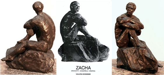 "Behold the Sea: bronze figure by Bill Zacha, hollow cast in one piece with base (1981). The center of the three views is from the 1981 exhibit at Galleria Schneider in Rome. Quantity cast: no more than three. Dimensions 8"" x 7"" / weight 5 lbs. SKU: WZ198187"