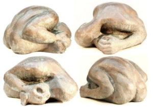 Vespers: hollow cast bronze figure by Bill Zacha (1981). Four views. Quantity cast, one. SKU: WZ198190
