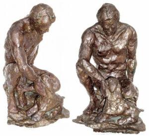 Pistoni: hollow cast bronze by Bill Zacha (1981). Two views. Quantity cast: no more than three. WZ198192