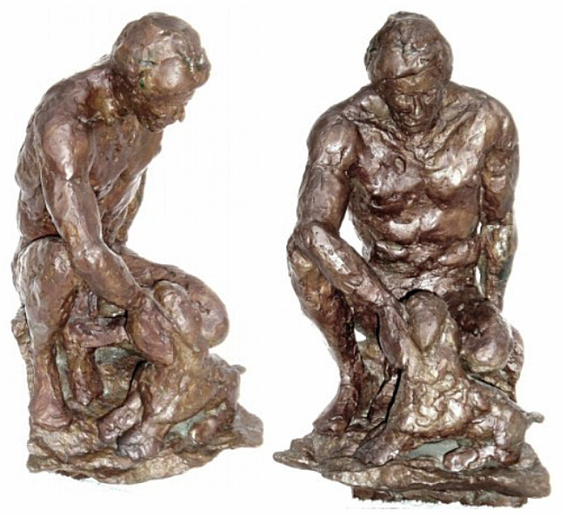 Pistoni: hollow cast bronze by Bill Zacha (1981). Two views. Quantity cast: no more than three. WZ198192