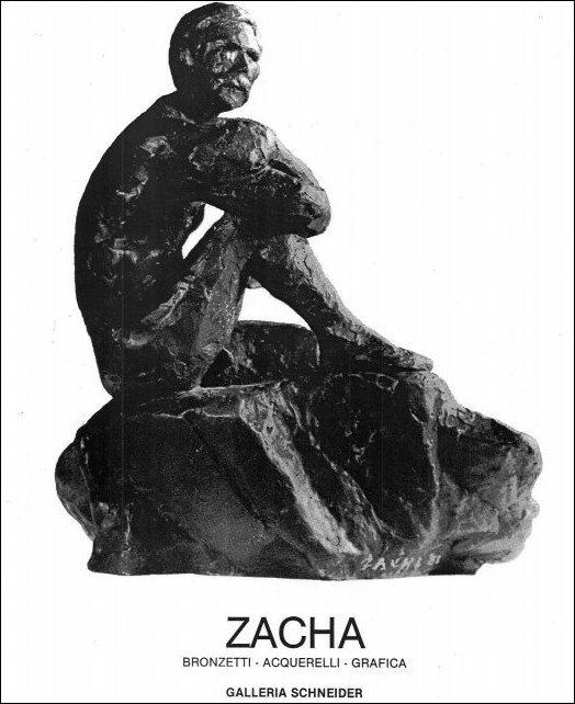 Informational booklet for William Zacha's exhibit of bronzetti, watercolors and serigraphs at Galleria Schneider in Rome (1981).
