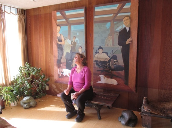Lucia Zacha with the 1964 Charles Marchant Stevenson portrait of her parents, Jennie and Bill Zacha (Mendocino 2015). Photo: CG Blick.