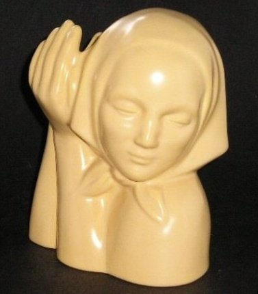 Dorr Bothwell's Peasant Head in GMB's Pale Yellow glaze, Catalina Art Ware line.